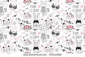 wallpaper cat illustration vector fashion cat seamless pattern cute stock photo photo vector