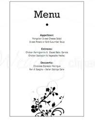simple menu template free printable black and white floral menu new stationery template