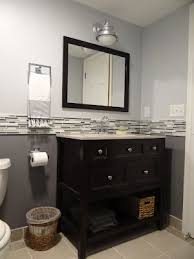 bathroom backsplashes ideas two tone paint with tile inbetween for the home