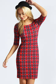 boohoo clothes boohoo womens esme tartan sleeve bodycon dress in
