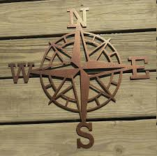 Decorative Metal Wall Art Compass Compass Wall Art North South East West Nautical Decor