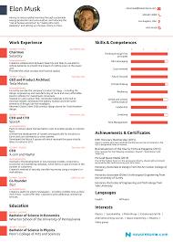 one page resume template the résumé of elon musk by novorésumé