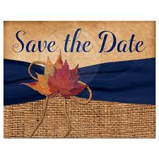 Rustic Save The Date Rustic Save The Date Postcard Printed Navy Blue Ribbon Fall