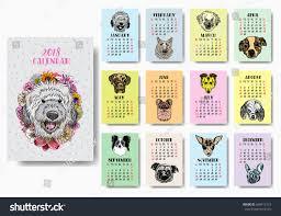 funny happy dogs calendar 2018 design stock vector 608412719