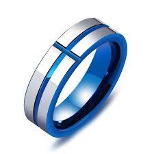 blue men rings images Metallic blue brushed titanium cross ring for men promise wedding jpg