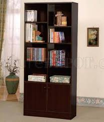 Espresso Bookcase With Doors Espresso Finish Modern Bookcase W Two Doors Shelves