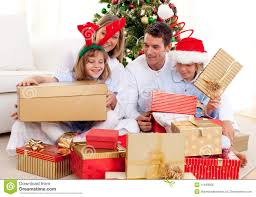 family with gifts royalty free stock