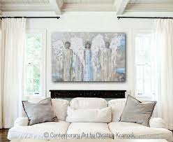 Contemporary Art Home Decor Original Angel Painting Abstract 3 Guardian Angels White Home Wall