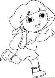 dora back to coloring page free dora the explorer
