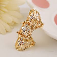 long gold rings images Online shop exaggerated gold color hollow out flower crystal long jpg