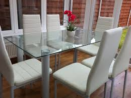 STUNNING GLASS DINING TABLE SET AND WITH  OR  FAUX LEATHER - Ebay kitchen table