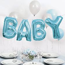 blue baby shower foil blue baby balloon word banner kit boy baby shower decorations