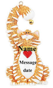 buy orange cat ornament personalized ornament from a