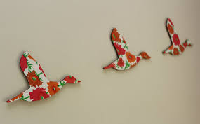 trio of flying ducks bright flowers eco wall