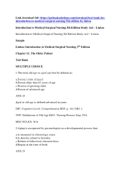 download test bank for introduction to medical surgical nursing