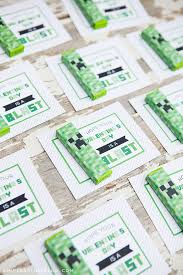 printable minecraft valentines with creeper gum wrappers simple