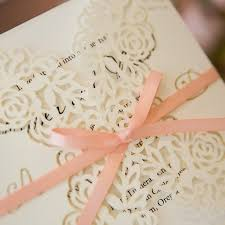 wedding invitations with ribbon custom floral laser cut wedding invites with ribbons
