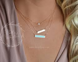 Custom Bar Necklace Personalized Bar Necklace Turquoise Bar Turquoise Necklace Tiny