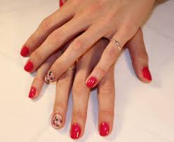 gelish red nails with cath kidson nail art design gelish nail