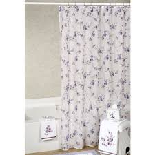 Purple Floral Curtains Purple White Floral Shower Curtains On The White Pole Combined