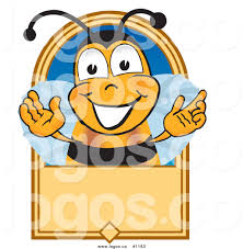 royalty free vector logo of a cartoon bee mascot on a blank tan