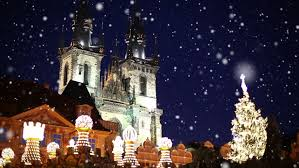 christmas night in the prague square stock footage video 3306194