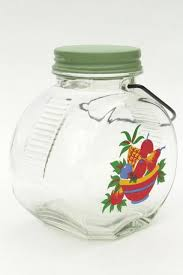 vintage glass jar kitchen canister w wire handle retro fruit