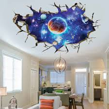 3d removable outer space planet wall stickers waterproof home