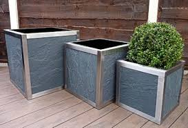 stainless steel framed cube planters with slate panels