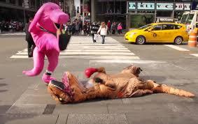 barney dinosaur battles rex york geekologie