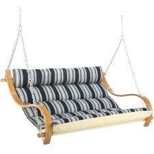 hamptons summer stripe deluxe cushioned double swing dfohome