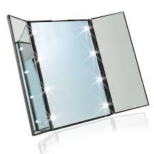 tri fold mirror with lights led makeup mirror toilet folding mirror folding desktop portable