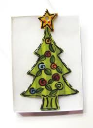 hand painted christmas tree ornament made from a slab of clay and