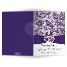 wedding photo thank you card purple silver white snowflakes