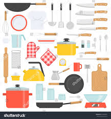 kitchen tools set kitchenware collection cooking stock vector