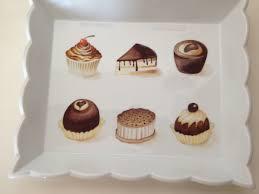 porcelaine peinte main petits gâteaux au chocolat plateau peint à la main par m muraz