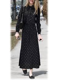 dot maxi dress black small white dots pleated