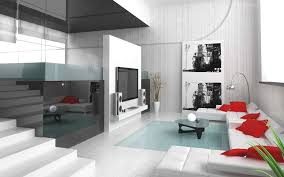 living room modern furniture stairs tv room white sofa red