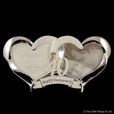 40 wedding anniversary gift 2 heart silver plated 40th wedding anniversary photo frame