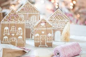 gingerbread house paper bag gift wrap idea