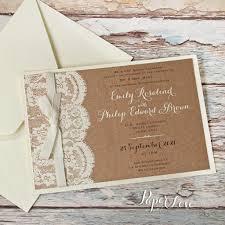 beautiful ecco ribbon wedding day invitation with eko brown