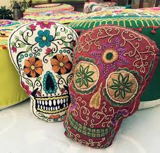 día de los muertos embroidered sugar skull pillows 24 95 each