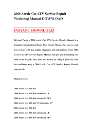 2006 arctic cat atv service repair workshop manual download