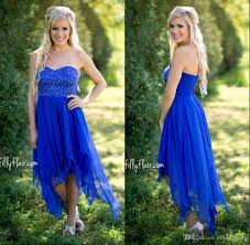 2017 country style short bridesmaid dresses royal blue high low