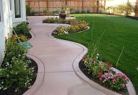 concrete backyard landscaping home outdoor decoration