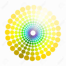 color circle shades of yellow green blue purple pattern vector