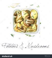 cr駱ine cuisine 土豆和蘑菇 水彩收集食物 食品及饮料 物体 海洛创意 hellorf