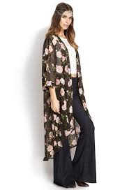 forever 21 enchanted rose maxi cardigan in pink lyst