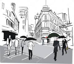 vector sketch of pedestrians in rain wellington new zealand