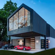 garage design news dezeen matt fajkus designs asymmetric austin residence for vintage car lover